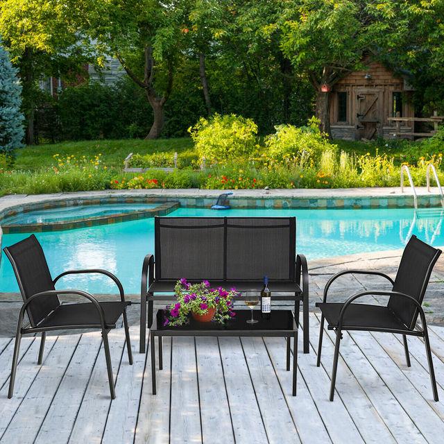 4 PCS Patio Furniture Coffee Table Set 4