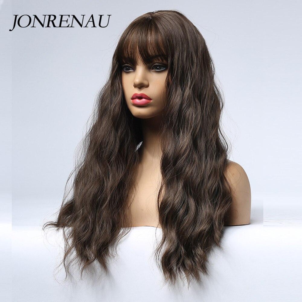 Image 3 - JONRENAU syntetyczny ciemnobrązowy długie naturalne fale peruka do Cosplay Ombre szary czerwony biały włosy blond peruki dla białych/czarnych kobietBrak Lace Peruki syntetyczne   -