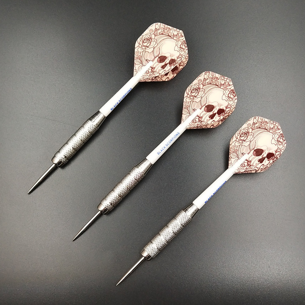 Fox Smiling 3pcs 22g Professional Steel Tip Darts With Nylon Darts Shafts With Skull Pattern Dardos Feather