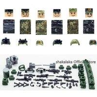 6pcs 특수 부대 군대 위장 팀 기동대 군인 무기 WW2 빌딩 블록 피규어 교육 장난감 소년 선물