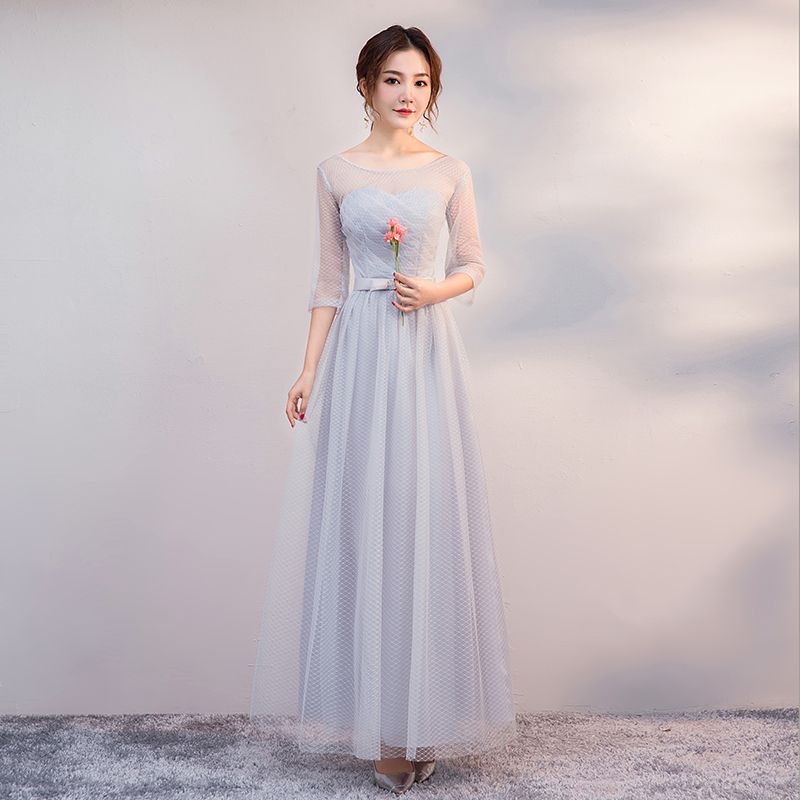 Long Dress For Wedding Party For Woman O-Neck Gray Bridesmaids Dresses Elegant Wedding Guest Dress Sexy Prom Club A-Line Vestido