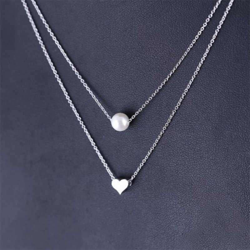 Mode coréenne amour coeur perle chaîne collier femmes Simple personnalité en couches clavicule Choker colliers