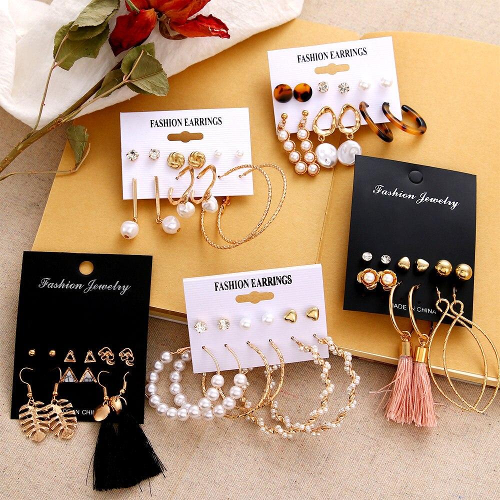 VKME Boho Tassel Earrings Bohemian Long Earrings Set For Women Brincos Geometric Fabric Earring Female Fashion Jewelry 2