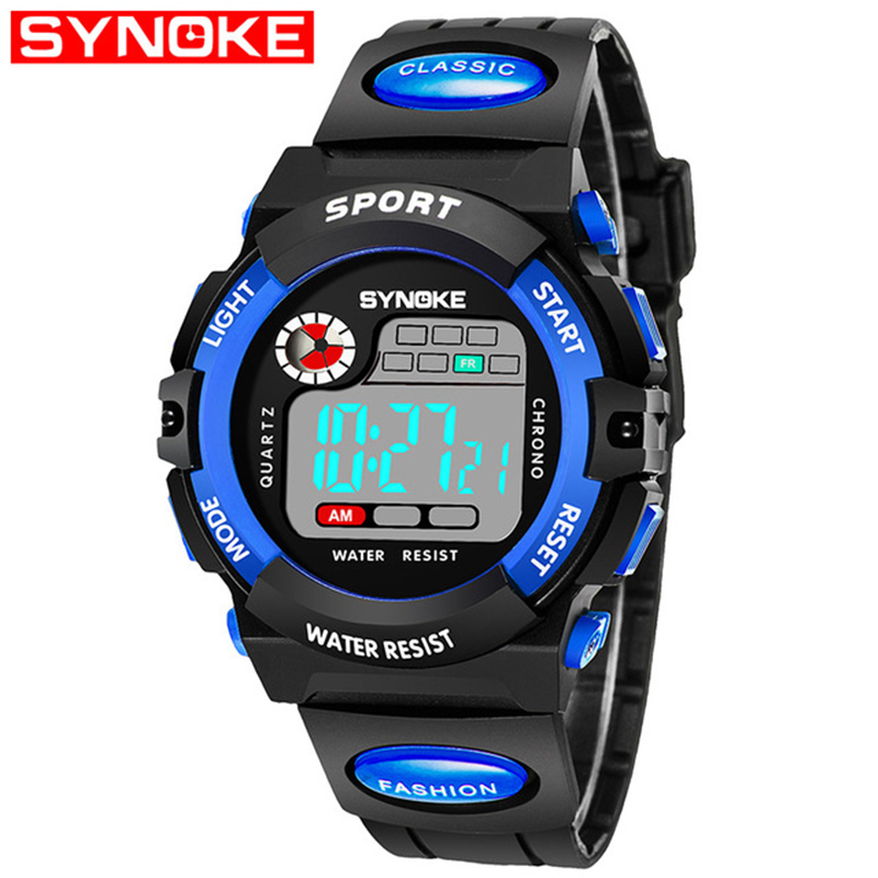 SYNOKE Waterproof Children's Watches Large Student Watch Small Kid Baby Digital Sports Week Alarm Clocks Child LED Top Quality