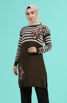 Minahill Khaki sweter moda muzułmańska islamska odzież skromne topy arabska odzież długa tunika Abaya Dubai 1466-04 tanie i dobre opinie TR (pochodzenie) tops Aplikacje Bluzki i koszule Octan Dla dorosłych