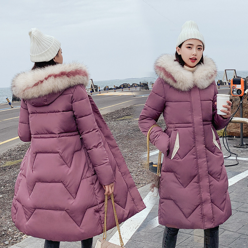 2019 New Arrival Fashion Slim Women Winter Jacket Cotton Padded Warm Thicken Ladies Coat Long Coats   Parka   Womens Jackets R1021