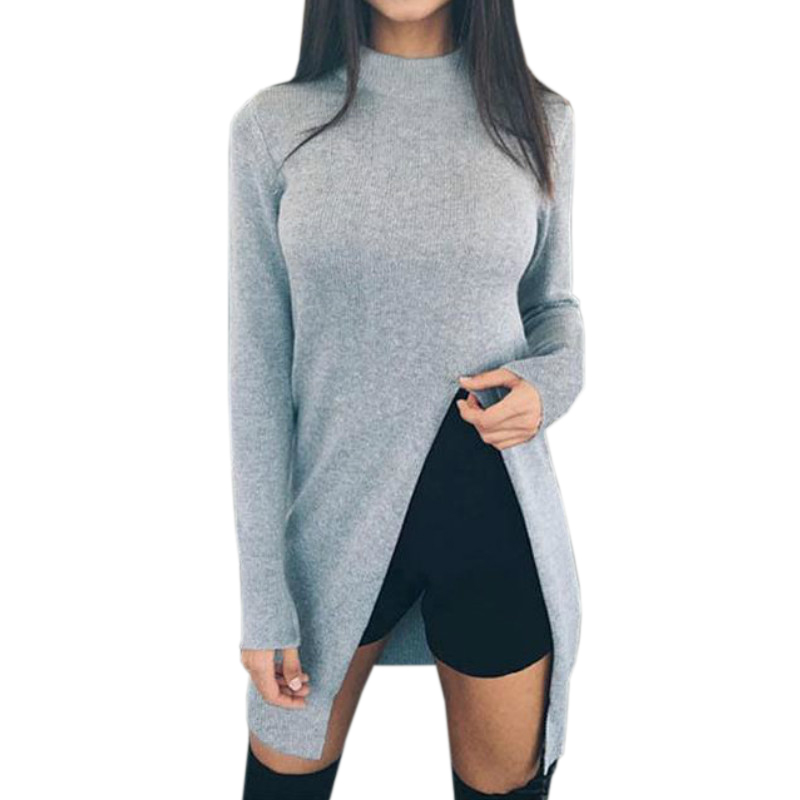 Women Winter Sweater Shirts Long Sleeve Top Knitted Pullovers High Split Casual Knitwear Women's Clothing Fashion Sweaters GV148