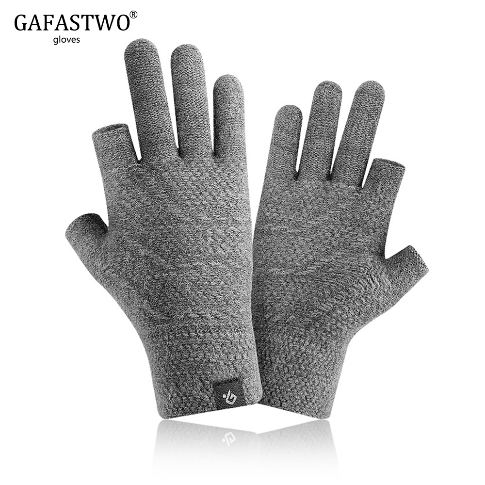 Autumn Winter Knitted Gloves Men Women Plus Velvet -10℃ Warm Fingerless Games Writing Plus Velvet Riding And Driving Gloves