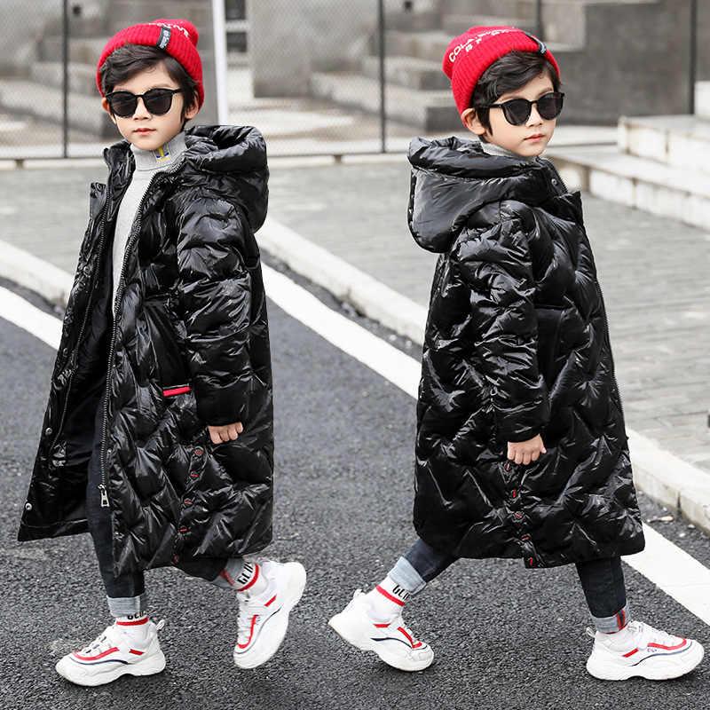 Детская удлиненная куртка парка с капюшоном для мальчиков теплая куртка с хлопковой подкладкой для больших мальчиков утепленная верхняя одежда детские зимние куртки