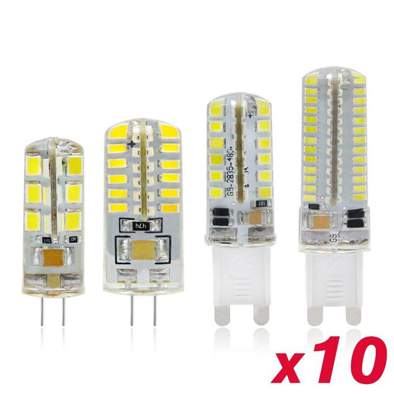 10 قطعة LED مصباح G4 G9 3 واط 5 واط 7 واط لمبة ذرة 220 فولت Lampada LED SMD 2835 3014 48 64 96 104 المصابيح 360 درجة كريستال الثريا ضوء