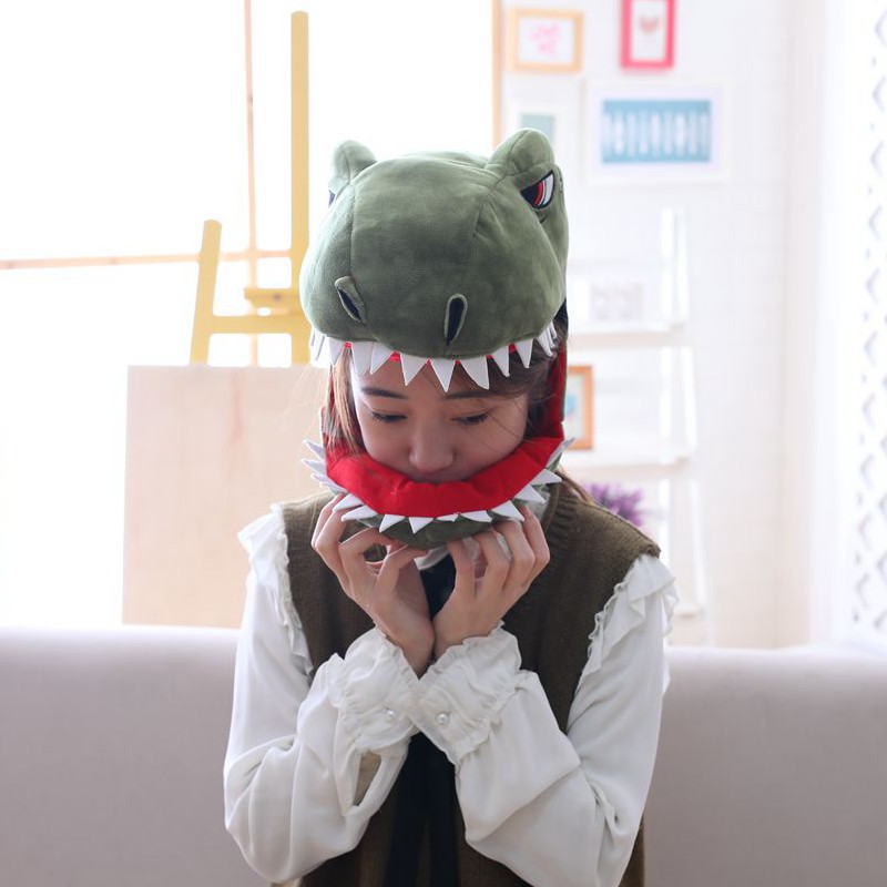 Party Hats Plush Funny Dinosaur Hat Easy Matching Unisex 350x200mm Halloween Cosplay Cap For Children Adult Party Decor Props in Party Hats from Home Garden