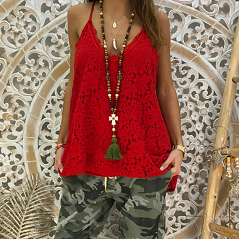 2019 Novel Summer Women Camisole Fashion Sexy Simple Solid Color Vest Sling Loose V neck Lace Sleeveless Camisole Tops in Camis from Women 39 s Clothing