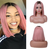 Wignee Ombre Pink/Grey/613 Blonde Bob Human Hair Wigs For Black Women Bleached Knots Short Straight Virgin Hair Lace Human Wigs
