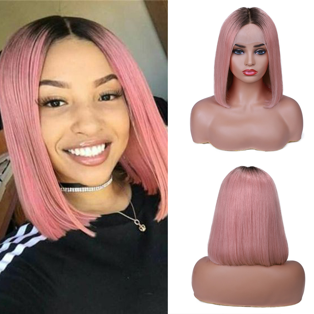 Wignee Virgin Hair Ombre Pink/Grey/Blonde Lace Front Bob Human Hair Wigs For Black Women Bleached Knots Short Straight Human Wig