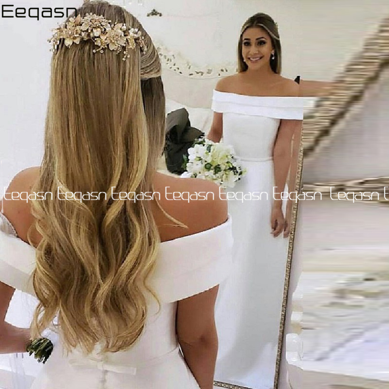 White Satin Mermaid Simple Wedding Dresses 2020 Off The Shoulder Boho Bride Dress Cheap Wedding Gowns With Sash Robe De Mariee