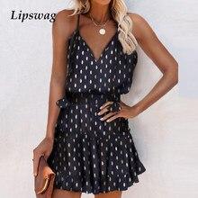Verão feminino sexy profundo v estilingue vestido moda sem mangas mini senhoras vestidos de festa elegante a linha dot print vestido