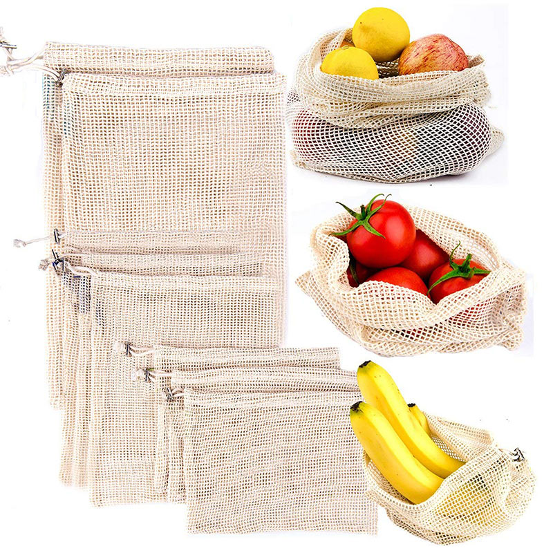 Reusable Cotton Mesh Produce Bags Durable Washable  Grocery Bags Eco - Friendly Vegetable Bags With Organizing Drawstring 3PCS