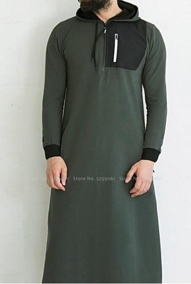 Abaya Men Arabic Long Sleeve Hoodies Muslim Dress Kaftan Saudi Arabia Islamic Clothing Men Pakistan Ethnic Thobe Jubba Robe Tops Men