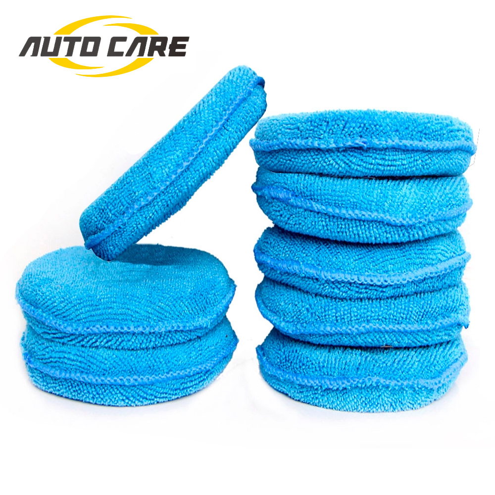 Soft Microfiber Car Wax Applicator Pad Polishing Sponge For Apply And Remove Wax Auto Care 4pcs Or 8pcs For Choice