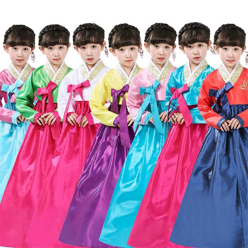 יום הולדת מתנה לשנה חדשה ססגוניות קוספליי תחפושות לילדים ילדה שמלת Hanbok קוריאני סגנון המפלגה הלאומית ילדי ריקוד יאקאטה