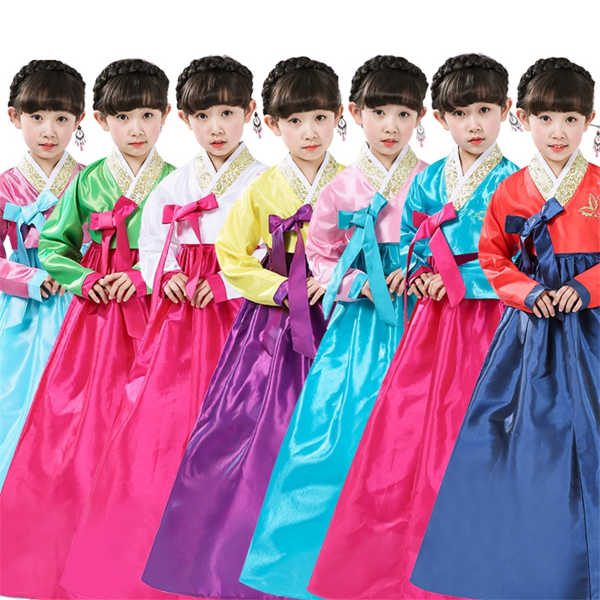 Birthday New Year Gift Multicolor Cosplay Costumes For Kids Girl Dress Hanbok Korean Style Party National Children Dance Yukata