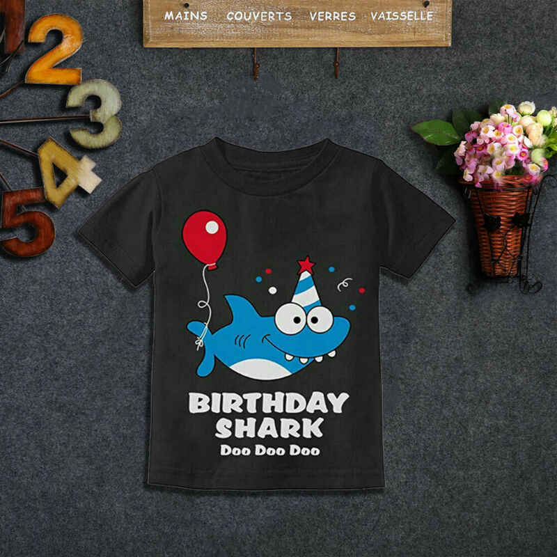 Children Cartoon Funny Baby Shark Print Cartoon Funny T shirt Kids Happy Birthday Present T-shirt Boys Girls Summer Clothes