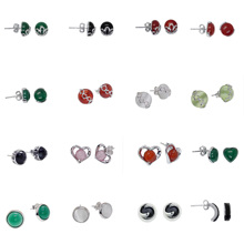 Silver Earrings For Women 100% Real 925 Sterling Stud With 8MM Green Agate Stone
