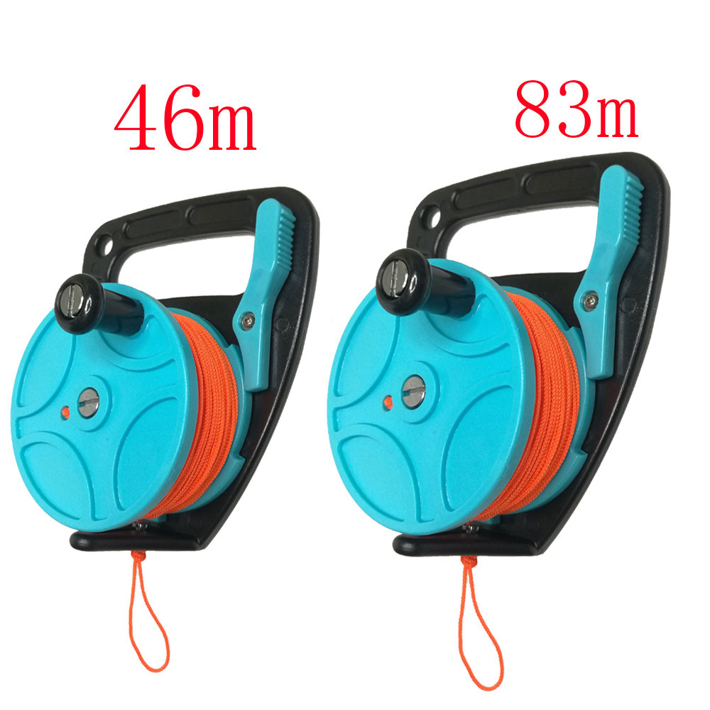 150 272FT Scuba Diving Reel Spool Finger Line Retractable Reels With handle Stopper for Snorkeling Underwater Water Sports Gear