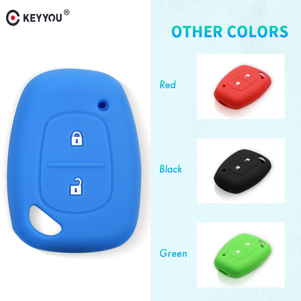 KEYYOU 2 Buttons Silicone Remote Car Key Cover Case Shell For Renault Traffic Kangoo