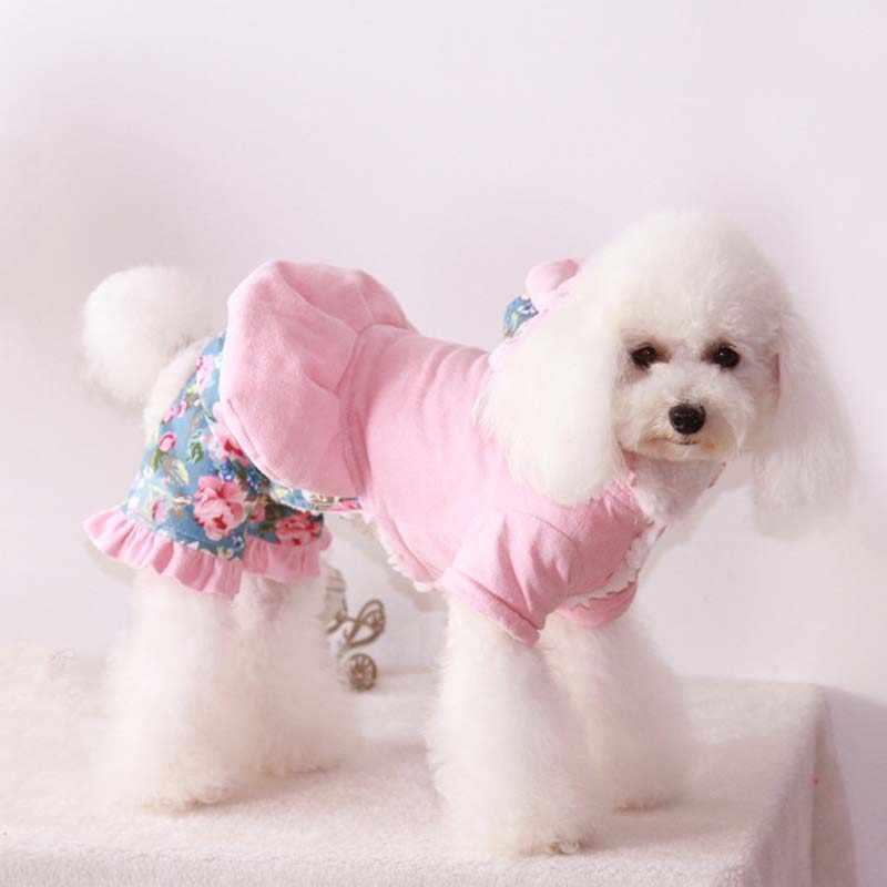 개 작업복 겨울 따뜻한 꽃 개 자켓 rompers 작은 개를위한 두꺼운 점프 슈트 shitzu 애완 동물 의류 snowsuit