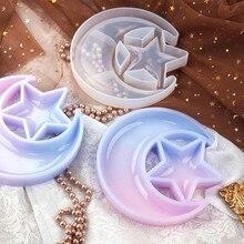 Lua estrela bandeja resina molde crescente lua caixa cola epoxy silicone fundição molde ferramentas b36d