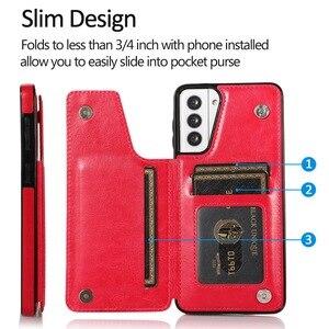 Image 5 - Retro PU Flip Leather Case For Samsung S21 A52 A51 A72 A71 A32 A12 A50 A70 S20 FE Note 20 Ultra S10 Plus Multi Card Holder Cases