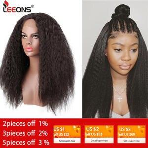 Leeons Synthetic Wigs Afro Lace-Frontal Straight Black-Women 150%Density for Kinky Brazilian