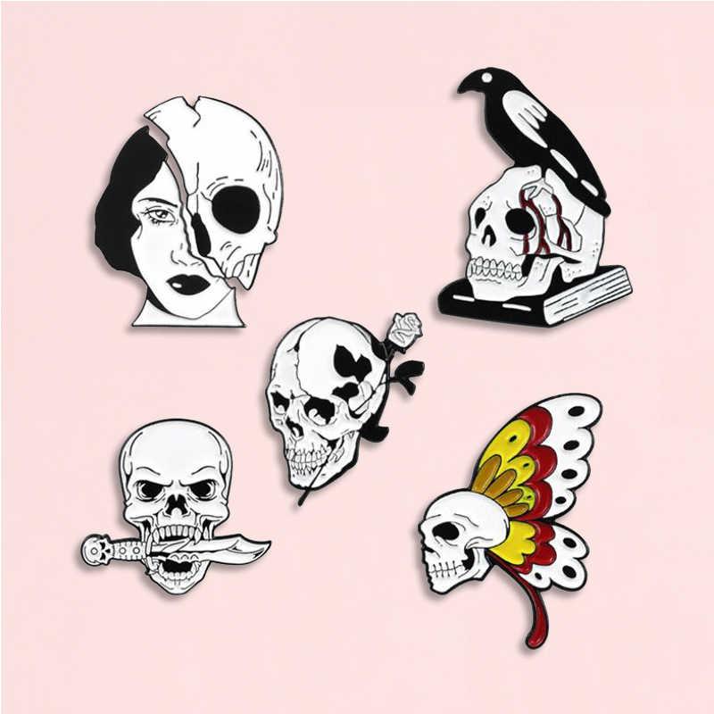 스켈레톤 에나멜 핀 소녀 얼굴 나비 로즈 나이프 버드 해골 배지 브로치 데님 셔츠 배낭 펑크 쥬얼리 친구를위한 선물