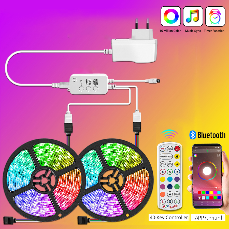 Bluetooth Led Strip Light RGB 5M LED Light Tape DC12V SMD 5050 Waterproof LED Light 10M 20M Diode Ribbon Flexible with Remote