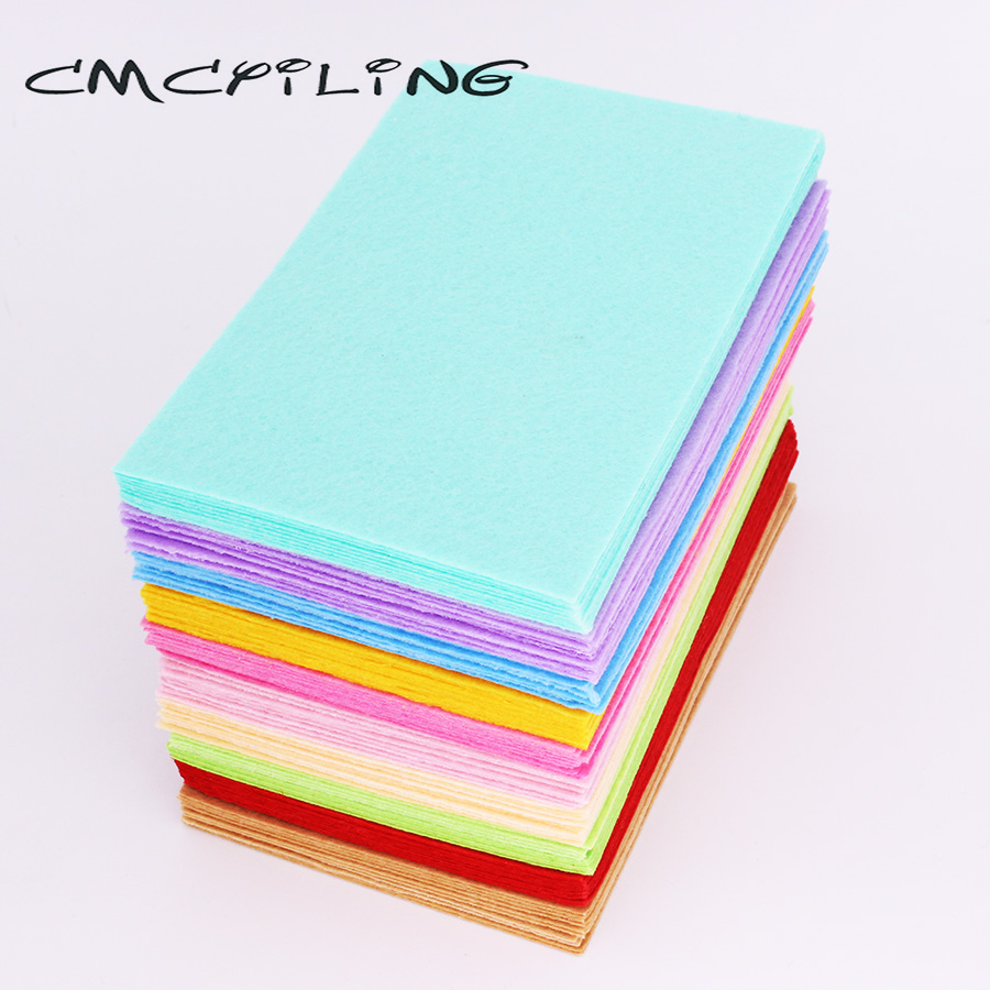 CMCYILING 40 Pcs/lot 10*15cm Felt Fabric 1 MM Thickness Polyester Cloth For DIY Crafts Scrapbook  Felt Sheets