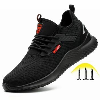 Sapatos indestrutíveis homens sapatos de trabalho de segurança com aço toe cap puncture-proof botas leves tênis respirável dropshipping 1