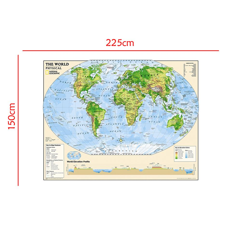 150x225cm The World Physical Map Elevation Profile With The Key To Map Feature For Beginner Of Geological Research