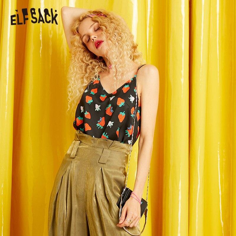 ELFSACK Женская майка с модным принтом, осень 2019, уличная одежда, милая Женская майка, сексуальные женские топы с v-образным вырезом и открытыми ...