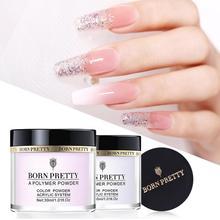 GEBOREN ZIEMLICH 30ml/10ml Acryl Pulver Carving Nail Polymer Spitze Extension Französisch Rosa Weiß Klar Adhesive Strass nail art
