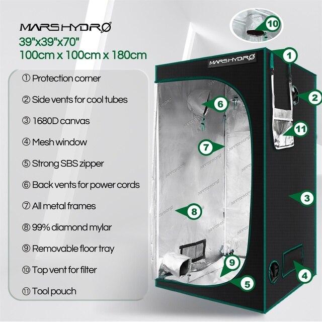 Marshydro 100x100x180cm Grow Tent 1680D indoor  2