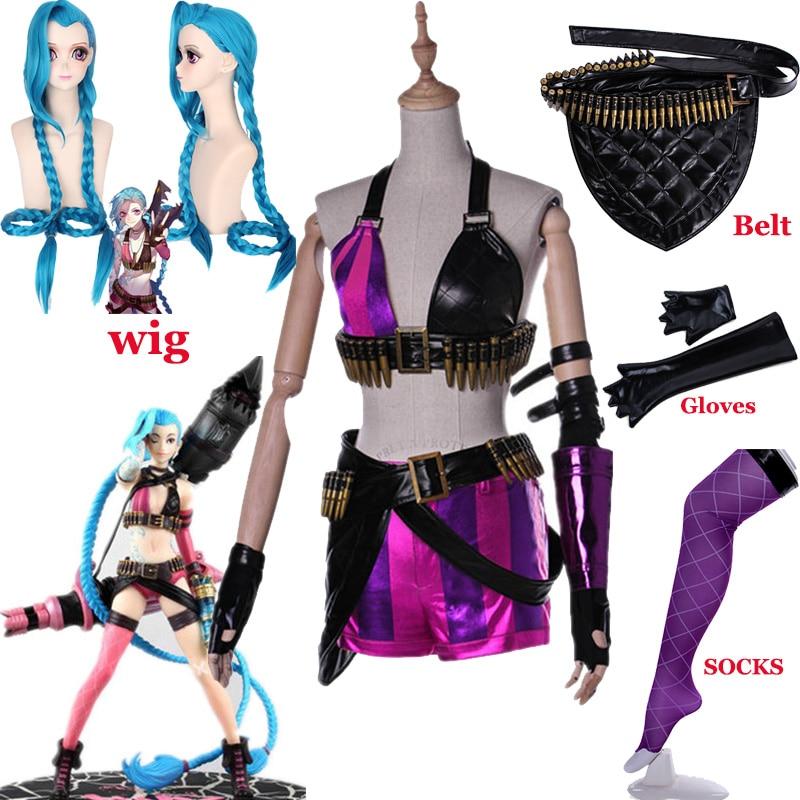 HOT! Game LoL Crit Loli Jinx Cosplay Costume Jinx Original Skin Magical Uniforms Blue Wigs Hair For Women Girls Party Clothing