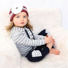 New Toddler Kids Baby Girl Boy Hoody Pant Set Stripe Fashion Concise Comfy Kid Clothes 0-24M Cute Newborn