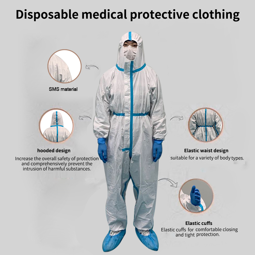 Antimicrobial Waterproof Hazmat Suit Full Body Protect Lv 3 PPE Ship USA Unisex