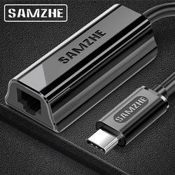 SAMZHE USB C Ethernet USB-C do RJ45 Lan Adapter do MacBook Pro Samsung Galaxy S9/S8/uwaga 9 typ C karta sieciowa USB Ethernet