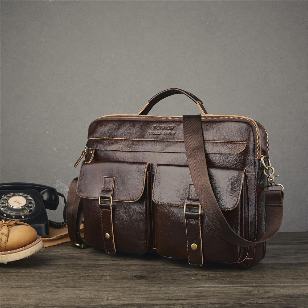 Leather Men's Bag Handbag Multi-layer Zipper Men's Briefcase Waxed Leather Shoulder Messenger Bag Head Layer Leather