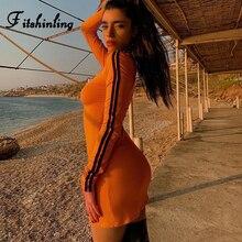 Fitshinling Zipper Up Striped Bodycon Dress Female Fashion Streetwear Slim Sexy Long Sleeve Dresses For Women Short Vestidos New