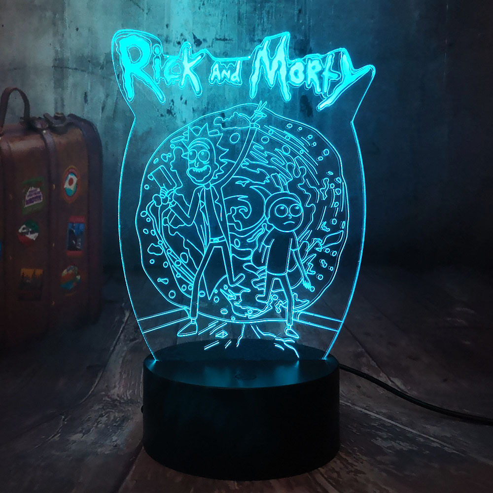 Cartoon Comic Rick And Morty Humor Scientists 3D LED Night Light Baby Sleep Kids Table Lamp Home Decor Kid Toys Christmas Gift