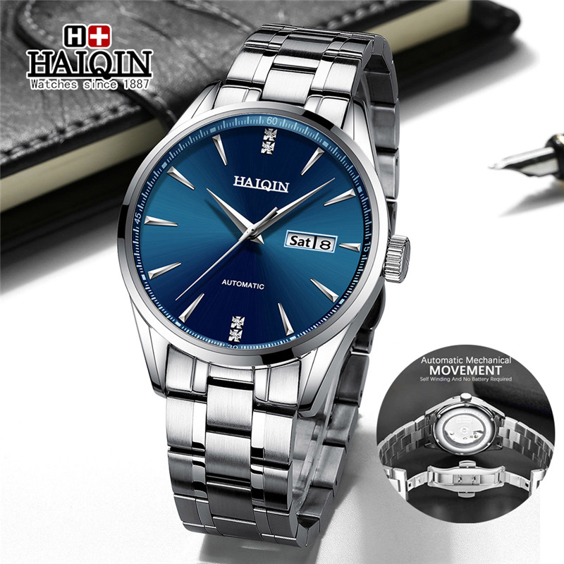 HAIQIN 2020 New Mens Watches Top Brand Luxury Fashion Automatic Watch Men Full Steel Mechanical Waterproof Clock Reloj Hombres