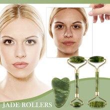 Rodillo de Jade verde Natural para masaje Facial, rodillo de masaje adelgazante para el cuidado de la piel